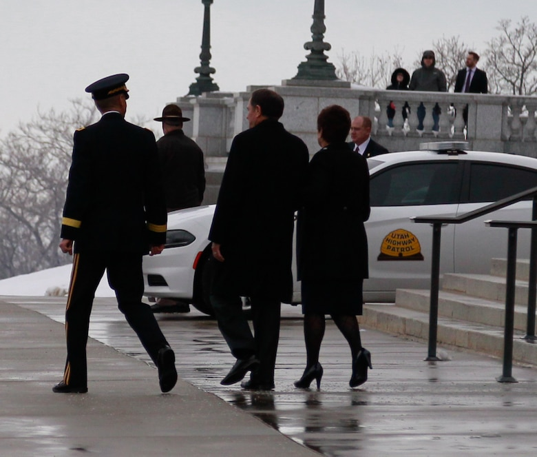 Maj. Gen. Jeff Burton walks with Gov. Gary R. Herbert at the capitol on the morning of the inauguration, Jan. 4, 2017.