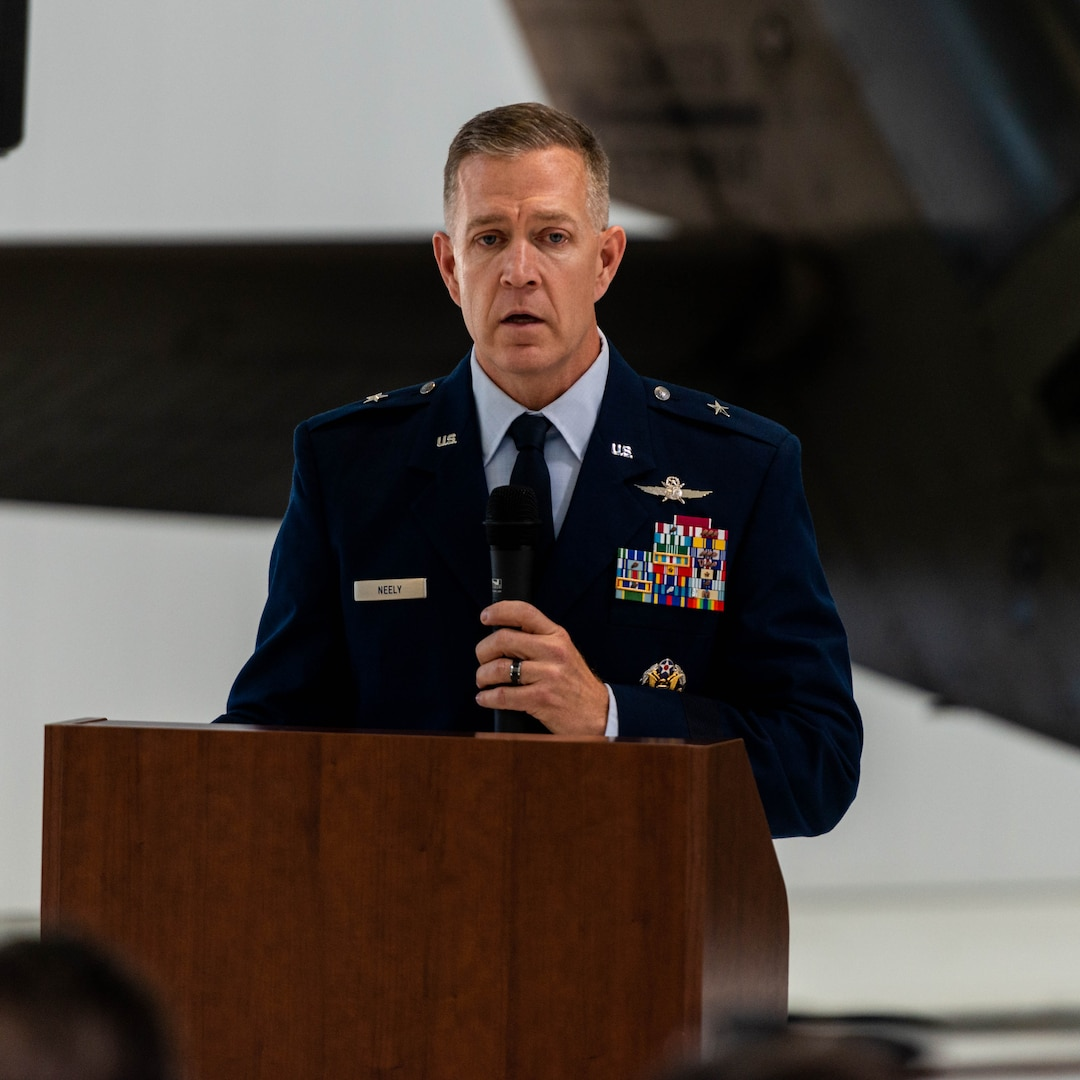 Brig. Gen. Richard Neely, the Adjutant General, Illinois National Guard, offers remarks during the Fallen Heroes Ceremony, at the Kankakee Army Aviation Support Facility, Kankakee, Illinois, Nov. 3. Neely spoke on behalf of the Illinois National Guard, thanking the families in attendance and stressing the ongoing relationship between the Illinois National Guard and the families of its fallen Soldiers and Airmen. (U.S. Army Photo by Sgt. Stephen Gifford, 139th Mobile Public Affairs Detachment