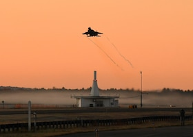 Six 104th Fighter Wing F-15 Eagles take off during a four day readiness exercise Nov. 2, 2019, at Barnes Air National Guard Base, Massachusetts. The 104 FW members spent the weekend in MOPP 2 and MOPP 4 conditions to prepare for potential CBRN conditions in a contested environment.  (U.S. Air National Guard photo by Airman 1st Class Sara Kolinski)