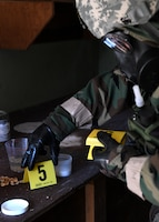 The 104th Fighter Wing Emergency Management Airmen simulated Level A for a biological Ricin lab during a four day readiness exercise November 1, 2019, at Barnes Air National Guard Base, Massachusetts. The Airmen switched between MOPP 2 and MOPP 4 in order to better prepare for potential CBRN attacks in contested environments. (U.S. Air National Guard photo by Airman 1st Class Sara Kolinski)