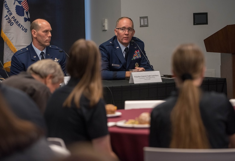 Brig. Gen. Todd D. Canterbury, 56th Fighter Wing commander, discusses key topics with Arizona military leaders during a panel discussion Nov. 1, 2019, at the Arizona State University Fulton Center in Tempe, Ariz.