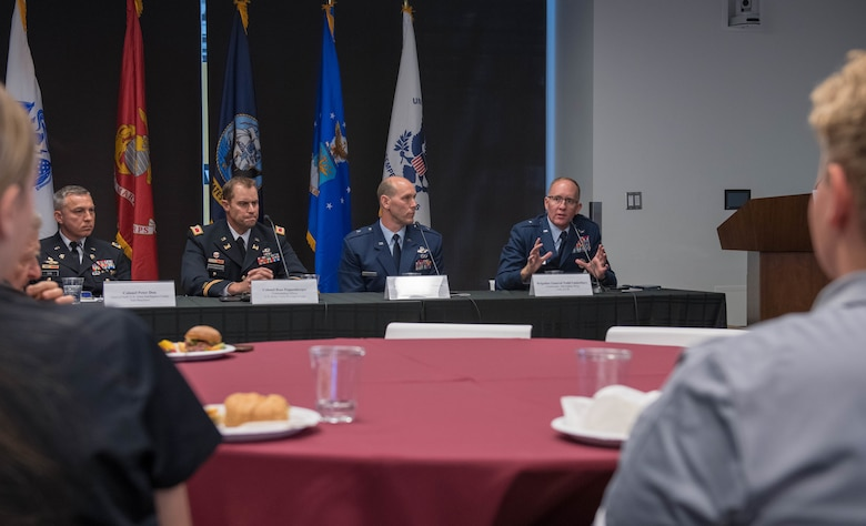 Brig. Gen. Todd D. Canterbury, 56th Fighter Wing commander, participates in a panel discussion with fellow Arizona military leaders Nov. 1, 2019, at the Arizona State University Fulton Center in Tempe, Ariz.