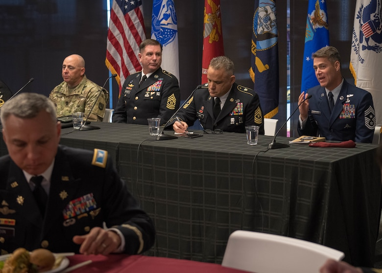 Chief Master Sgt. Ronald Thompson, 56th Fighter Wing command chief, speaks on key topics with fellow senior enlisted advisors during a panel discussion Nov. 1, 2019, at the Arizona State University Fulton Center in Tempe, Ariz.