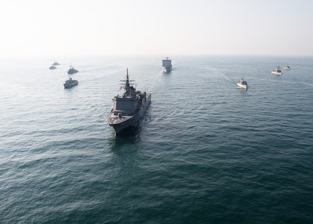 ARABIAN GULF (Nov. 4, 2019) U.S. Navy ships and partner force ships conduct a formation as a part of the International Maritime Exercise 2019. IMX19 is a multinational engagement involving partners and allies from around the world in sharing knowledge and experiences across the full spectrum of defensive maritime operations. The exercise serves to demonstrate the global resolve in maintaining regional security and stability, freedom of navigation and the free flow of commerce from the Suez Canal south to the Bab-el-Mandeb through the Strait of Hormuz to the Northern Arabian Gulf. (U.S. Navy photo by Mass Communication Specialist 3rd Class Dawson Roth/Released)