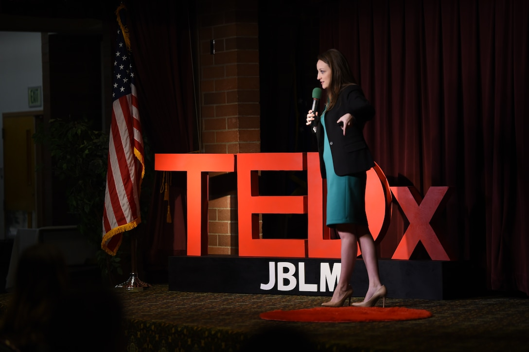Katie Madison, 62nd Aerial Port Squadron and U.S. Air Force Key Spouse of the year, speaks at the TEDxJBLM event on Joint Base Lewis-McChord, Wash., Nov. 1, 2019. She shared about her personal struggle with her autoimmune disease and talked about resiliency in the Air Force.