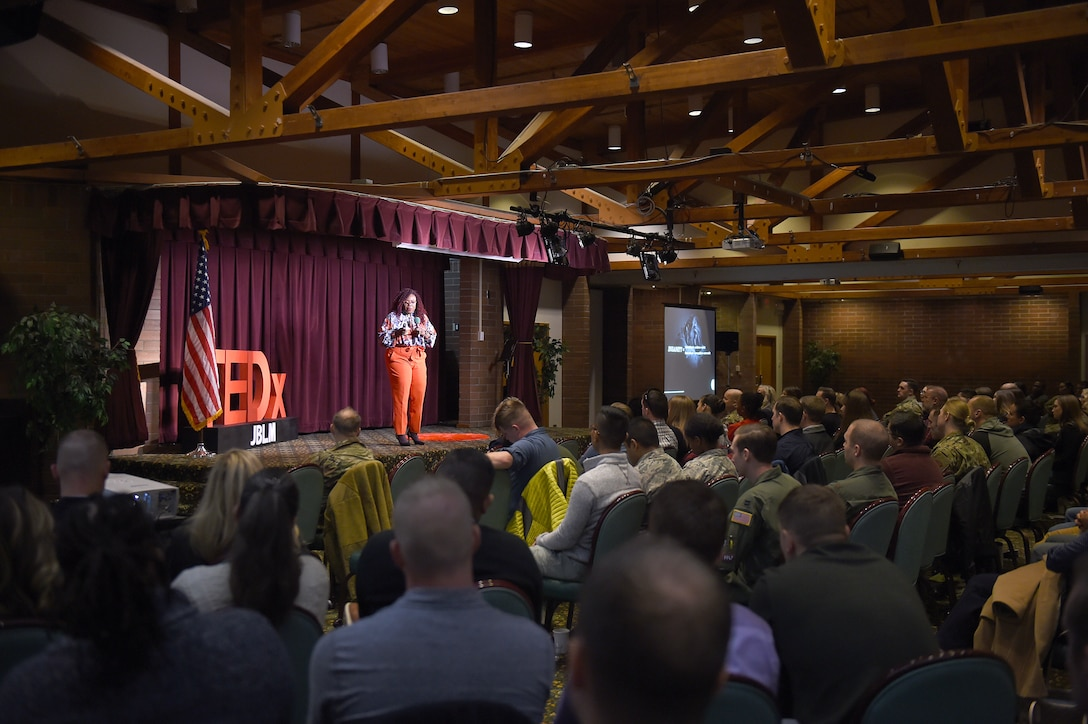 "Shellie Willis, CEO and Founder of the ""Redefining You"" Foundation, speaks at the TEDxJBLM event on Joint Base Lewis-McChord, Wash., November 1, 2019. In her presentation, Willis talked about how people often find themselves utilizing their skills and abilities in a limited way and how to bring their talents and skills into their workplace and community."