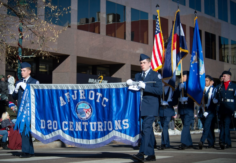 "Members of Air Force Junior Reserve Officers' Training Corps Detachment 20 Centurions, march in the 2019 Colorado Springs Veterans Day Parade in Colorado Springs, Colorado, Nov 2. 2019. Junior ROTC is a program for young adults in high-school to ""develop citizens of character dedicated to serving their nation and community."" (U.S. Air Force photo by Airman 1st Class Jonathan Whitely)"