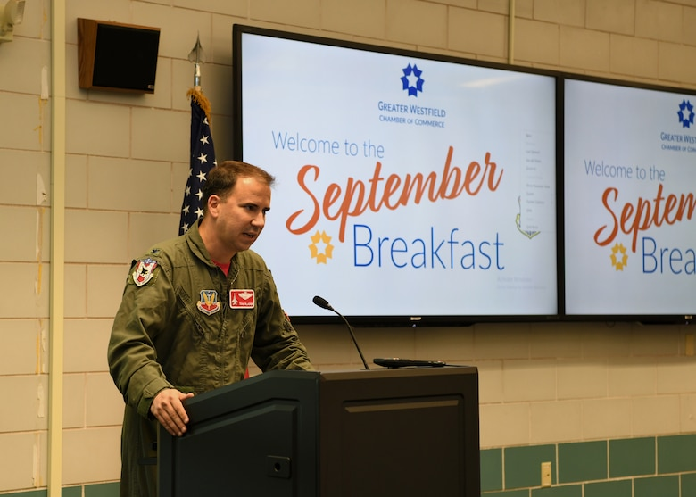 "The 104th Fighter Wing hosts the September Breakfast for the Greater Westfield Chamber of Commerce. The 104th Fighter Wing's Vice Commander, Colonel Tom ""Sling"" Bladen addressed the chamber.   (U.S. Air National Guard photo by Airman Basic Camille Lienau)"