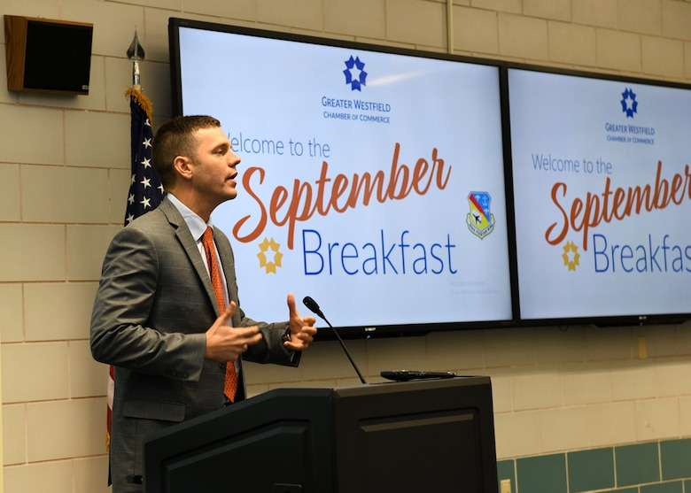 The 104th Fighter Wing hosts the September breakfast for the Greater Westfield Chamber of Commerce. John Velis, member of the Massachusetts house of Representatives spoke to the chamber and discussed upcoming bills. (U.S. Air National Guard photo by Airman Basic Camille Lienau)