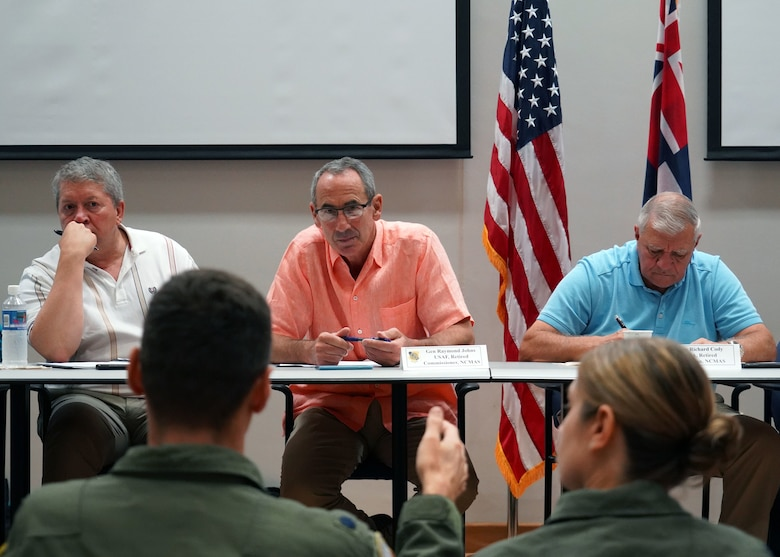 The National Commission on Military Aviation Safety listens to concerns from Total Force Integration Squadron Commanders at Joint Base Pearl Harbor-Hickam, Hawaii, Nov. 1, 2019. The NCMAS have visited over 70 different sites to try and reduce the number of aircraft mishaps in military aviation. The visit to Hickam was significant due to the active duty and guard Total Force Integration of Hickam Airfield. (U.S. Air Force photo by Airman 1st Class Erin Baxter)