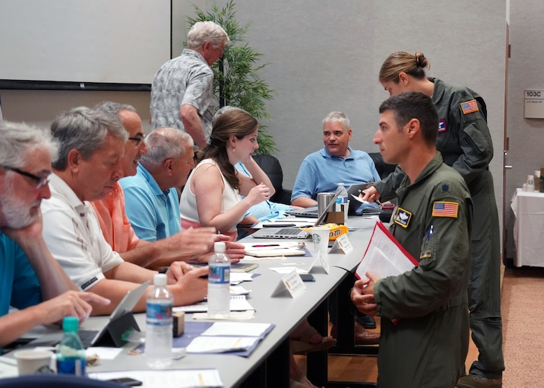 The National Commission on Military Aviation Safety greets Total Force Integration Squadron Commanders at Joint Base Pearl Harbor-Hickam, Hawaii, Nov. 1, 2019. The NCMAS was put together by Congress to assess military installations and report back with findings on how to increase safety and mission readiness. The visit to Hickam was significant due to the active duty and guard Total Force Integration of Hickam Airfield. (U.S. Air Force photo by Airman 1st Class Erin Baxter)