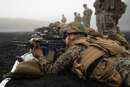 U.S. Marine Corps 1st Lt. Zachary Scalzo participates in a combat marksmanship range during exercise Fuji Viper 20.1 in Camp Fuji, Japan, Oct. 16, 2019.