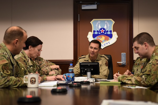 Canadian Brig. Gen. Alex Day, Air Forces Central Command Combined Air and Space Operations Center director, meets with senior CAOC leaders at Al Udeid Air Base, Qatar, Oct. 28, 2019.