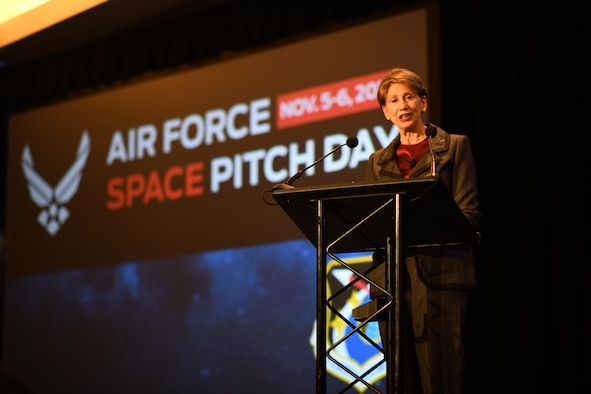 Secretary of the Air Force Barbara Barrett speaks at the commencement of the U.S. Air Force Space Pitch Day, Nov. 5, 2019, San Francisco, Calif. Air Force Space Pitch Day is a two-day event hosted by the U.S. Air Force to demonstrate the Air Force's willingness and ability to work with non-traditional startups.
