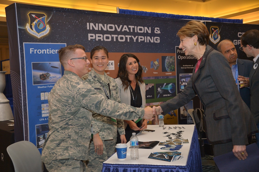 Space and Missile Systems Center program managers meet and brief Secretary of the Air Force Barbara Barrett, at U.S. Air Force Space Pitch Day, Nov. 5, 2019, San Francisco, Calif. Air Force Space Pitch Day is a two-day event hosted by the U.S. Air Force to demonstrate the Air Force's willingness and ability to work with non-traditional startups.