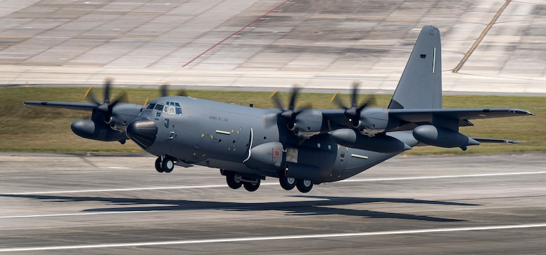 A French KC-130J in flight. The Air Force Life Cycle Management Center played a key role in delivering two KC-130J and two C-130Js to a joint French and German squadron at  Évreux-Fauville Air Base, France. (Photo by Todd R. McQueen, Lockheed Martin)