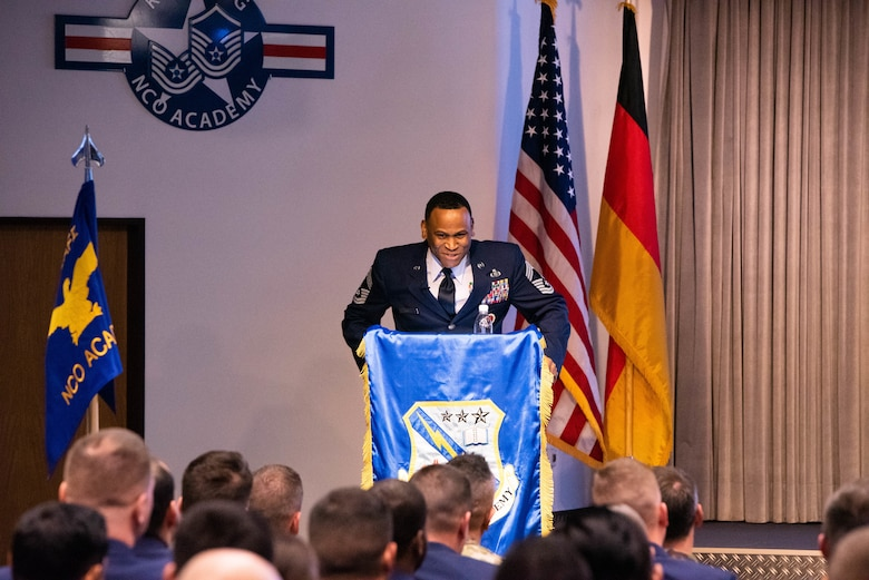 U.S. Air Force Chief Master Sgt. Terrance Smiley, Kisling Noncommissioned Officer Academy commandant, addresses attendees during a ribbon cutting event for the reopening of the NCOA on Kapaun Air Station, Germany, Nov. 1, 2019. Kisling NCOA was closed for six months to complete renovations in order to improve the educational environment for students and instructors. (Courtesy Photo)