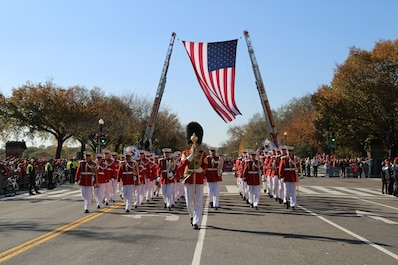 On Saturday, Nov. 2, 2019, the Marine Band marched in the Washington Nationals' World Series parade in Washington, D.C. (U.S. Marine Corps photo by Gunnery Sgt. Rachel Ghadiali/released)