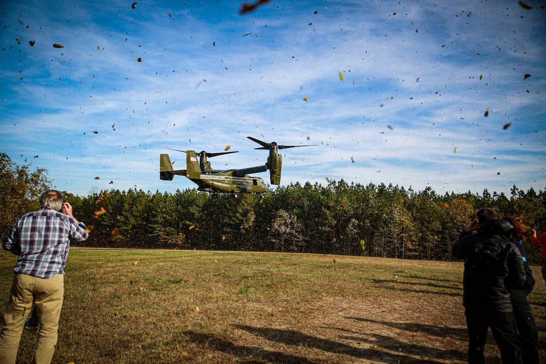 Joint Civilian Orientation attendees and staff  take a ride in the MV-22 osprey at Marine Crops Base Quantico, Virginia, Nov. 4, 2019. The JCOC is the Department of Defense's oldest and most prestigious public liaison program. Established in 1948, it is the only Secretary of Defense-sponsored outreach program that enables American business and community leaders to have a full immersive experience with their military. The Marine Corps portion of JCOC consists of a tour of MCB Quantico and its various facilities, highlighting Marine Corps history, leader, tactical assets and cultural impact on American society.