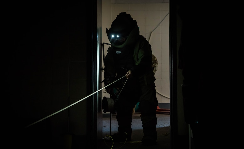 EOD utilizes bomb suit