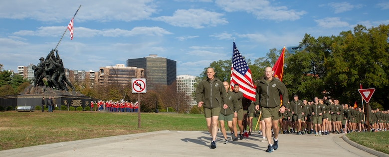 Commandant of the Marine Corps Gen. David H. Berger and Sergeant Major of the Marine Corps, Sgt. Maj. Troy E. Black join Headquarters and Service Battalion, Headquarters Marine Corps, Henderson Hall Marines during the 2019 Marine Corps birthday run in Arlington, Va., Nov. 5, 2019.