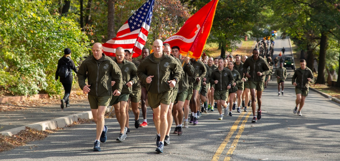 Commandant of the Marine Corps Gen. David H. Berger and Sergeant Major of the Marine Corps, Sgt. Maj. Troy E. Black lead a motivational run on Joint Base Myer-Henderson Hall, Nov. 5. The run was held in celebration of the Marine Corps' upcoming 244th birthday.