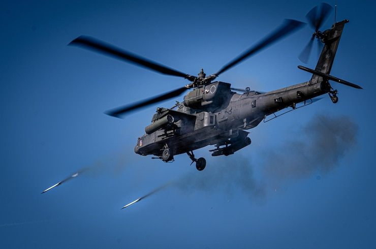 1-3rd Attack Reconnaissance Battalion supports French and U.S. ground forces during live fire training as part of Dragoon Ready on Grafenwoehr Training Area.  Pictured: an AH-64 fires its rockets