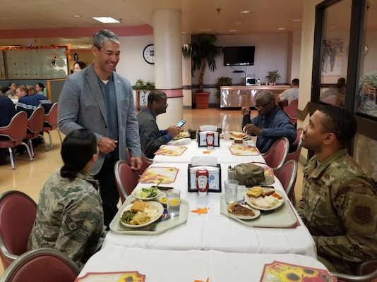 Ron Nirenberg, San Antonio mayor, visits with 433rd Airlift Wing Reserve Citizen Airmen after serving the Airmen a Thanksgiving feast at the Live Oak Dining Facility, Joint Base San Antonio-Lackland, Texas Nov. 2, 2019.