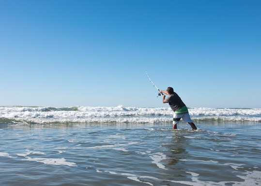 Master Sgt. Mike Iaukea, 14th Air Force Combined Force Space Component Command special missions division manager, enjoys an afternoon of fly fishing Oct. 24, 2019, near Wall beach at Vandenberg Air Force Base, Calif. Iaukea takes advantage of the coastline a few times a week to fish to unwind from his day-to-day life, which helps maintain his comprehensive health. (U.S. Air Force photo by Airman 1st Class Aubree Milks)