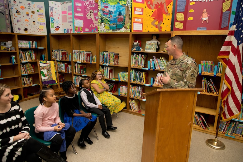 U.S. Army Corps of Engineers (USACE) Vicksburg District Commander Col. Robert A. Hilliard speaks to students during an adopt-a-school signing ceremony at Beechwood Elementary School in Vicksburg, Mississippi, Nov. 4.