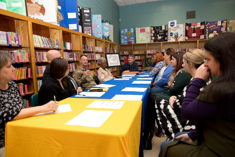 U.S. Army Corps of Engineers (USACE) Vicksburg District Commander Col. Robert A. Hilliard, Beechwood Elementary School principal David Adams, Vicksburg District outreach committee members and faculty and staff from Beechwood Elementary School discuss the adopt-a-school plan for the 2019-2020 school year at Beechwood Elementary School in Vicksburg, Mississippi, Nov. 4.