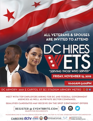 To commemorate and honor Veterans Day, the District of Columbia National Guard, DC Department of Employment Services (DOES), DC Department of Human Resources (DCHR) and the Mayor's Office of Veterans Affairs (MOVA) is hosting and facilitating the 3rd annual DC Hires Vets Employment Expo Nov. 15 from 10 a.m. until 3 p.m.