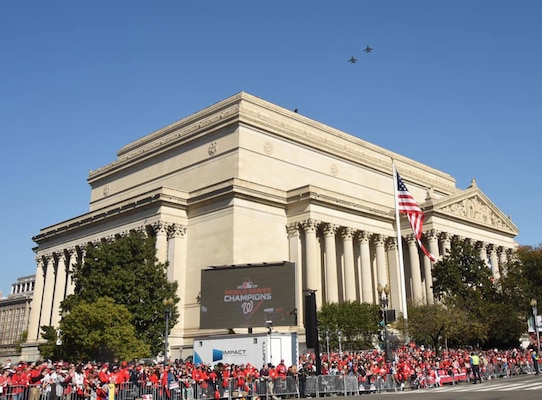 Two District of Columbia Air National Guard F-16's from the 113th Wing fly high over the Washington Nationals victory parade in Washington, D.C., Nov. 2, 2019. The District of Columbia National Guard also provided military band performances and Civil Support Team assistance to aid District officials with the Nationals' World Series parade.