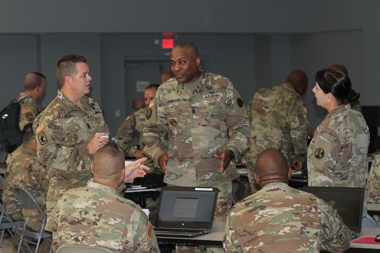 Command Sgt. Maj. Anthony Simpson, 94th Training Division (Force Sustainment) senior enlisted leader, speaks to multiple senior noncommissioned officers during a Command Sergeant Major Leadership Huddle held in San Antonio, Texas, on September 26-29, 2019. The 94th TD resources and conducts specified military occupational specialty reclassification, NCO and officer educational and functional training.