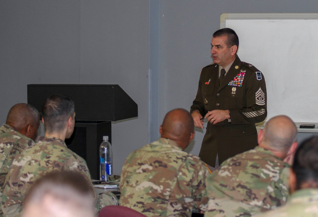 Command Sgt. Maj. Dennis J. Thomas, 80th Training Command (TASS) senior enlisted leader, spoke to the key noncommissioned officers for the 94th Training Division (Force Sustainment) and its subordinate units during a Command Sergeant Major Leadership Huddle held in San Antonio, Texas, on September 26-29, 2019. The 94th TD supports the 80th TC's mission of more than 2,700 instructors providing essential training to Army Active Duty, Reserve, and National Guard Soldiers.