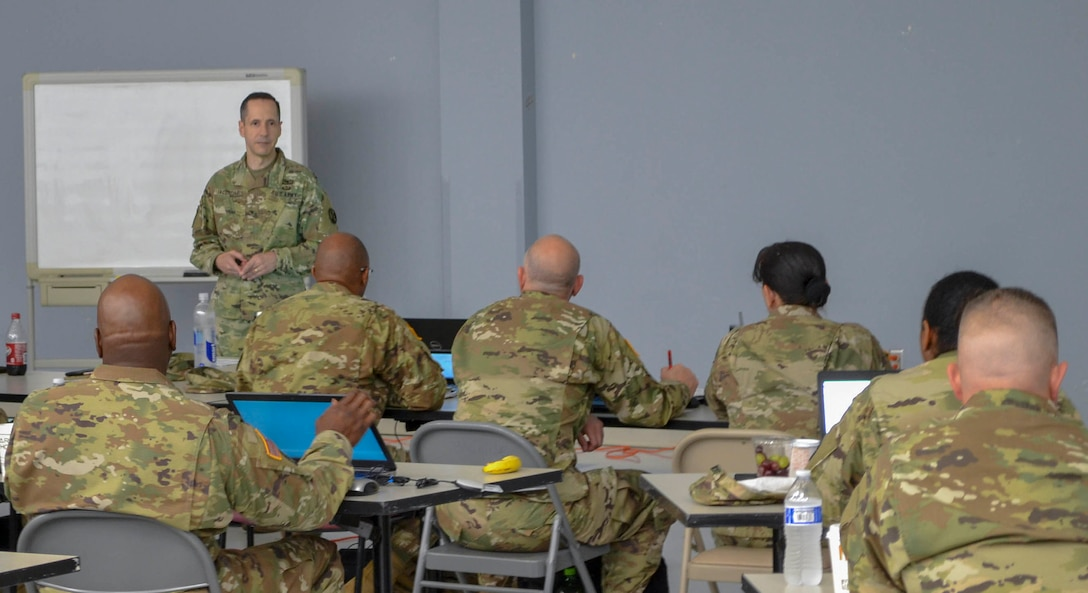 Brig. Gen. Stephen Iacovelli, commanding general for the 94th Training Division-Force Sustainment, spoke to the key noncommissioned officers for the 94th TD and its subordinate units during a Command Sergeant Major Leadership Huddle held in San Antonio, Texas, Sept. 26-29, 2019. The 94th TD resources and conducts specified military occupational specialty reclassification, NCO, and officer educational and functional training.
