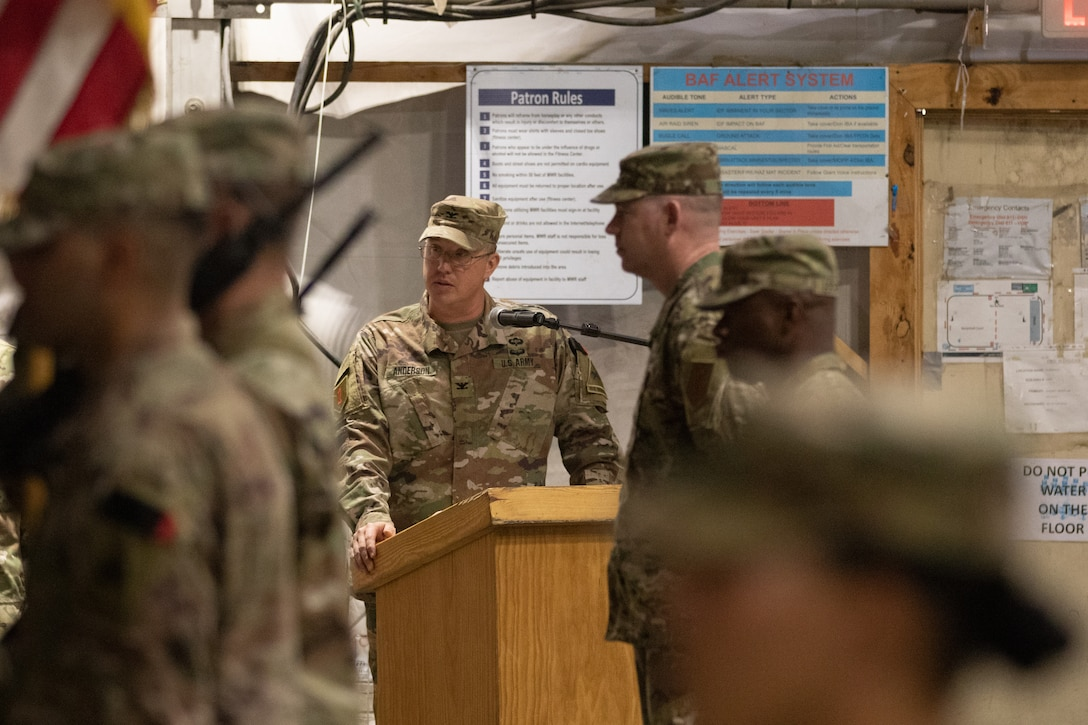 Col. Ronnie D. Anderson, 1st Armored Resolute Support Sustainment Brigade commander, makes remarks at the RSSB transfer of authority ceremony at Bagram, Afghanistan, Nov. 1, 2019. Anderson most recently served as chief, strategic operations and plans, Commander's Initiatives Group, 1st TSC, at Camp Arifjan, Kuwait, in support of Operations Resolute Support, Inherent Resolve and Spartan Shield. (U.S. Army photo by Sgt. Sean Harding)