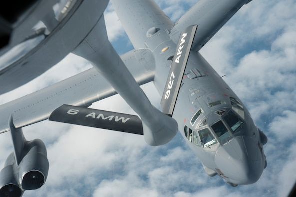 A B-52 Stratofortress from Barksdale Air Force Base, La., approaches a KC-135 Stratotanker from MacDill AFB, Fla., for refueling support Nov. 4, 2019.  The KC-135 delivers rapid global mobility and air refueling to extend the capabilities for global strike and strategic deterrence missions.