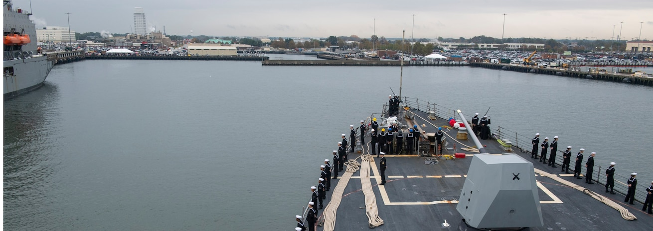 The ships returned to Norfolk Naval Station Nov. 5, marking the end of a seven-month deployment to the U.S. 6th and 5th Fleet areas of operation.