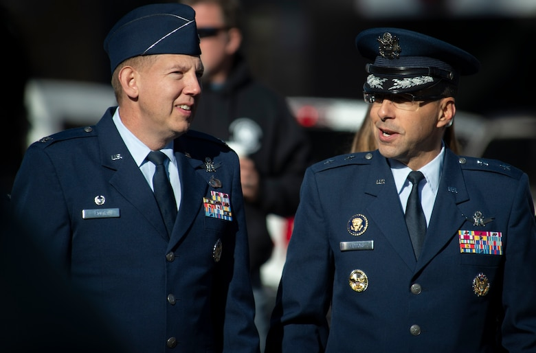 Col. James Smith, 50th Space Wing commander, left, and Maj. Gen. William Liquori, Air Force Space Command director of strategic requirements, architectures and analysis, observe the 2019 Colorado Springs Veterans Day Parade in Colorado Springs, Colorado, Nov. 2, 2019. The annual event honors veterans and the sacrifices they've made. (U.S. Air Force photo by Airman 1st Class Jonathan Whitely)