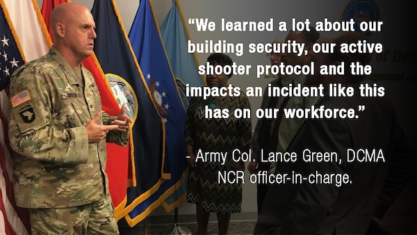 Army Col. Lance Green, DCMA NCR officer-in-charge, address a crowd during a training period.
