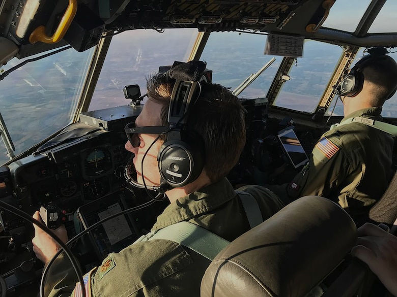 C-130H flies over College Station