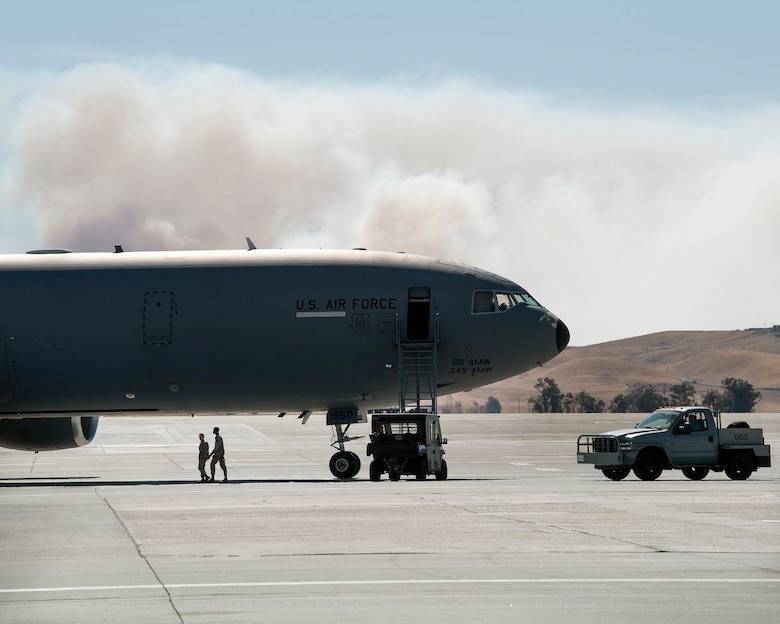 Photos of smoke outside of Travis AFB.
