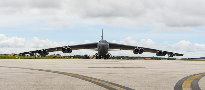 A 69th Expeditionary Bomb Squadron B-52 Stratofortress prepares to taxi down the flightline on Andersen Air Force Base, Guam, Oct. 22, 2019. B-52s, along with B-2 Spirits and B-1B Lancers are flown to maintain the Continuous Bomber Presence Mission housed on Andersen. The B-52 is a long-range, heavy bomber capable of flying at subsonic speeds at altitudes up to 50,000 feet with an un-refueled combat range of 8,800 miles. (U.S. Air Force photo by Airman 1st Class Michael S. Murphy)