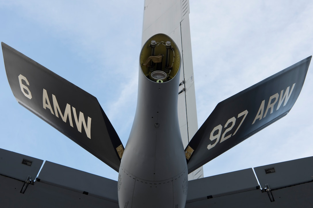 The boom tail flashes of the 6th Air Mobility Wing (AMW) and the Air Force Reserve's 927th Air Refueling Wing (ARW) are displayed on all KC-135 Stratotankers assigned to MacDill Air Force Base, Fla. The 6th AMW was redesignated as the 6th ARW Sept. 30, 2019. The 6th ARW is in the process of updating its boom tail flashes to reflect the wing's new designation.