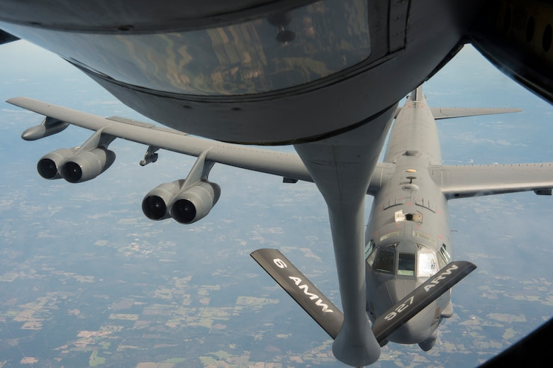A B-52 Stratofortress assigned to Barksdale Air Force Base, La., approaches a KC-135 Stratotanker assigned to MacDill AFB, Fla., for refueling support Nov. 4, 2019.  The KC-135 delivers rapid global mobility with air refueling to extend the capabilities for global strike and strategic deterrence missions.