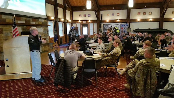 PA-HART members, including Soldiers with the 28th Expeditionary Combat Aviation Brigade and civilian rescue technicians from 18 states, participate in a search-and-rescue workshop at the Keystone Conference Center, Nov. 5, 2019.