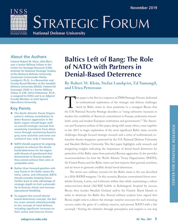 Baltics Left of Bang: The Role of NATO with Partners in Denial-Based Deterrence