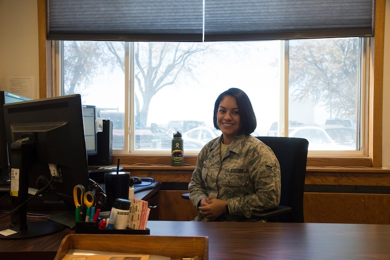 Airman 1st Class Priscila Lopez, 366th Civil Engineering Squadron operations management field professional, poses for a photo Nov. 6, 2019, Mountain Home Air Force Base, Idaho.