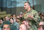 Senior Master Sgt. David Quintero, 159th Maintenance Group, Louisiana Air National Guard, asks a question about the future of the F-15 program to U.S. Air Force Lt. Gen. L. Scott Rice, director of the Air National Guard, at Naval Air Station Joint Reserve Base New Orleans, Nov. 3, 2019.